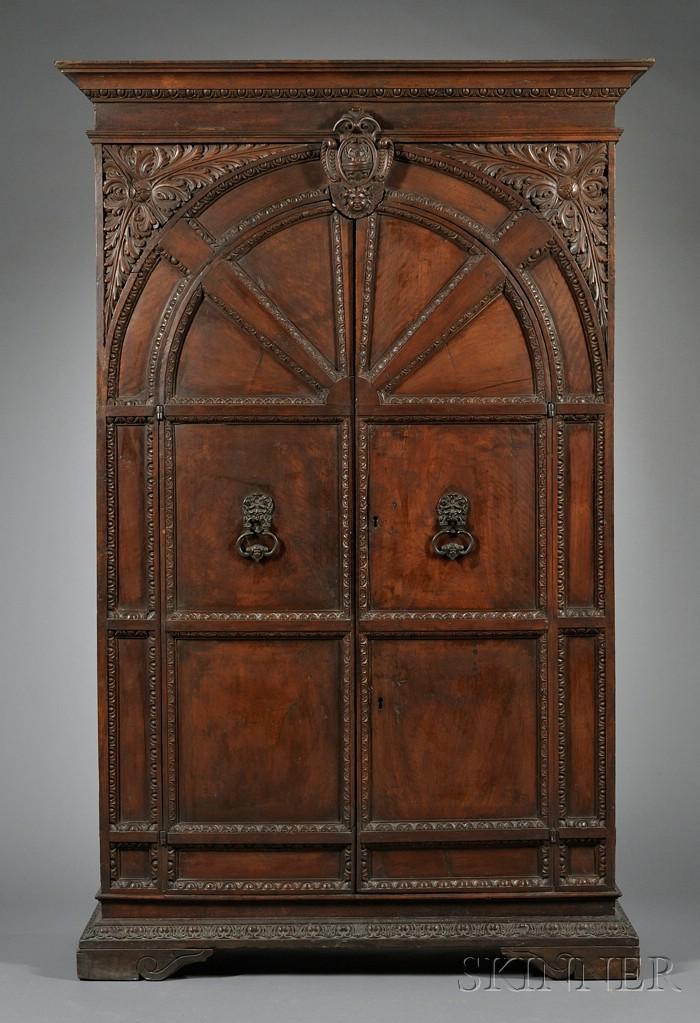 Italian Renaissance Revival Carved Walnut Cabinet