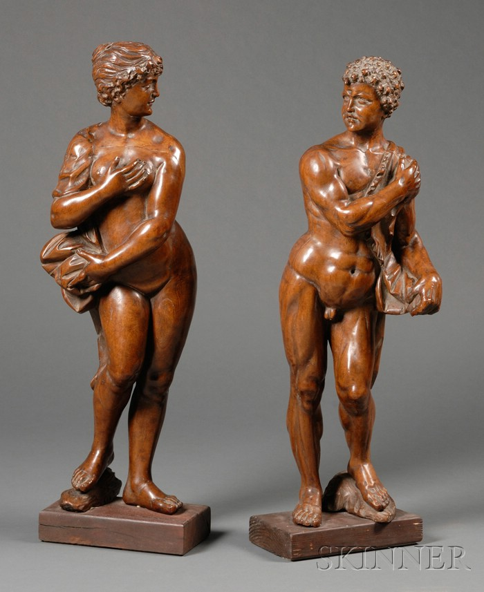 Pair of Continental Baroque-style Carved Fruitwood Figures