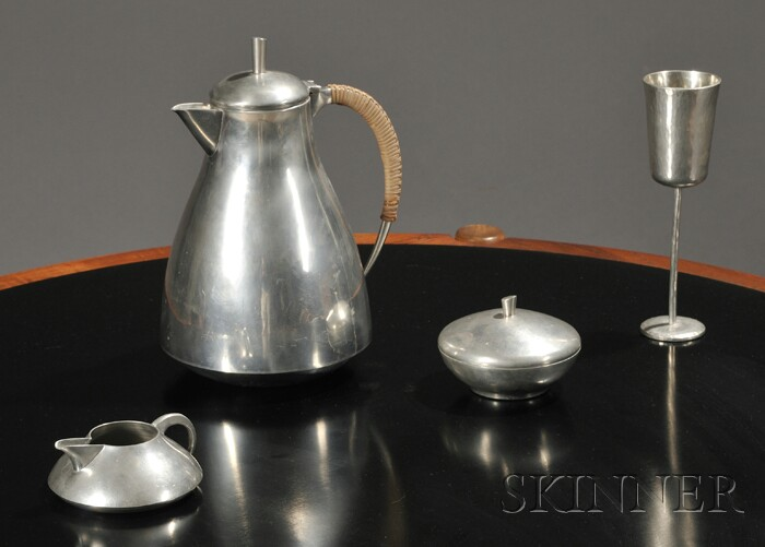 Four Mid-century Pewter Table Items