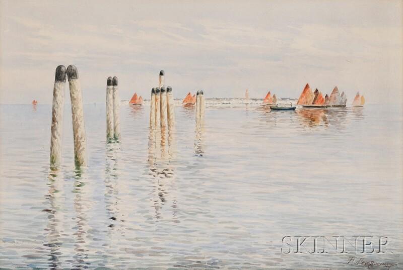 Alberto Prosdocimi (Italian, 1852-1925)      Venice Lagoon with Sailing Vessels