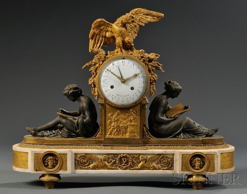 Patinated Bronze, Gilt-bronze, and Marble Mantel Clock