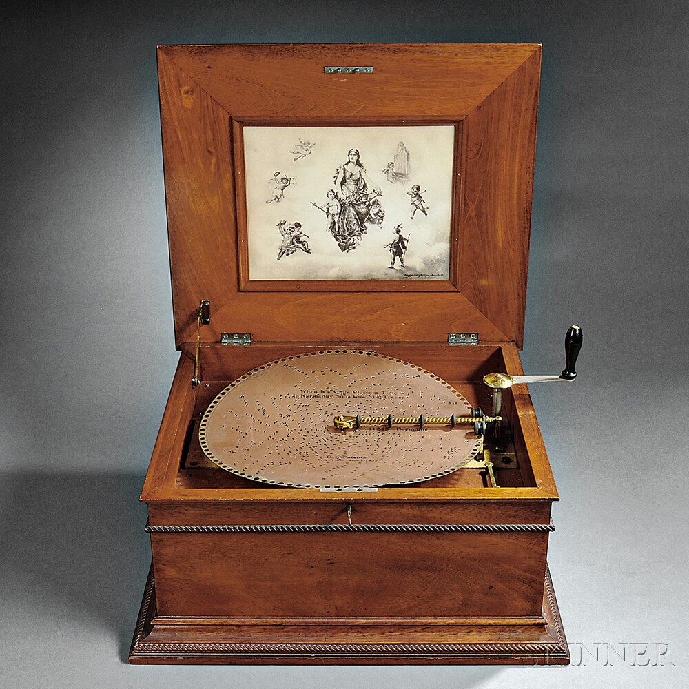 Regina 15 1/2-inch Mahogany Disc Musical Box