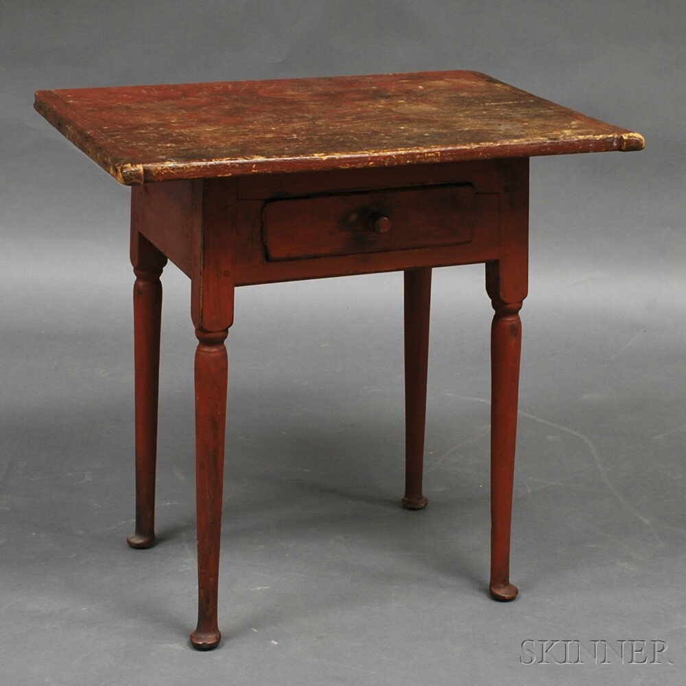 Queen Anne Red-painted One-drawer Tea Table