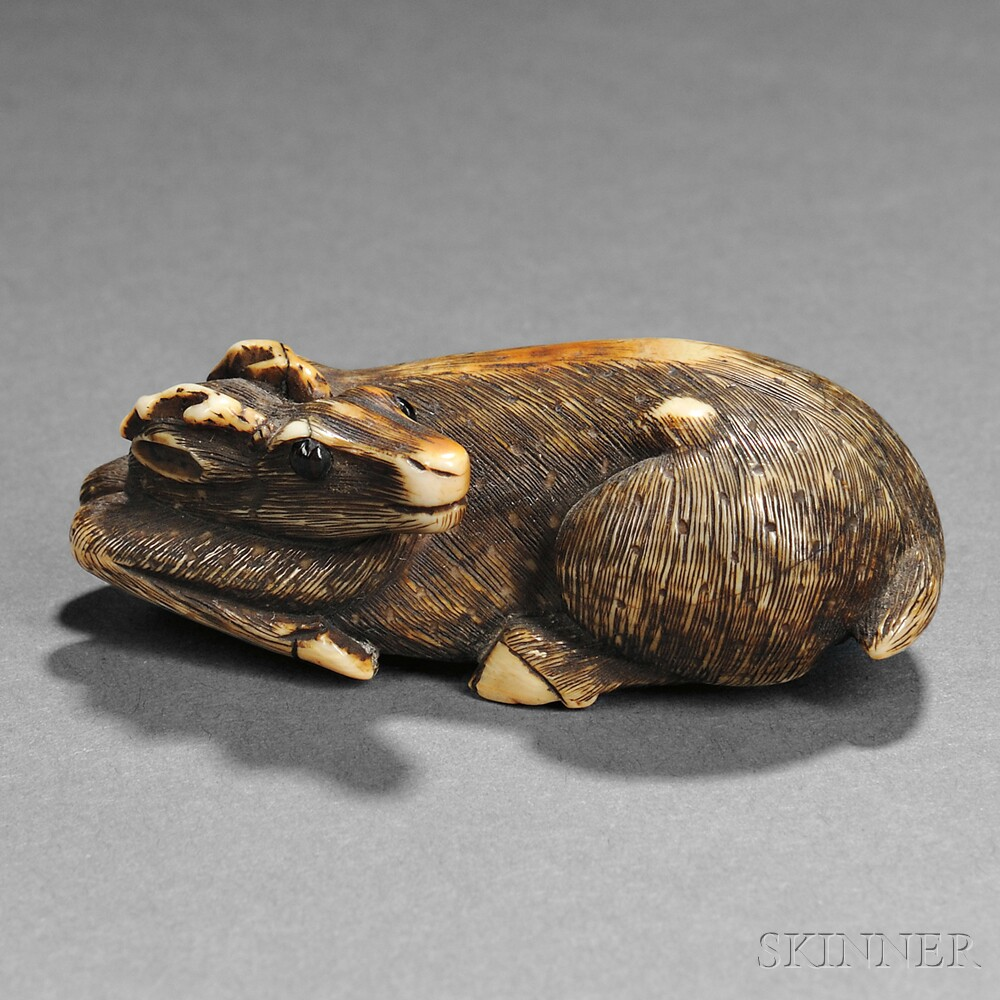 Ivory Netsuke of a Deer