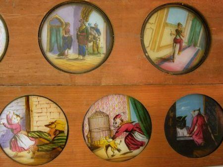 Thirteen Hand-painted Magic Lantern Strip Slides