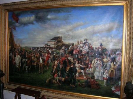 Large Framed Oil on Canvas Derby Day