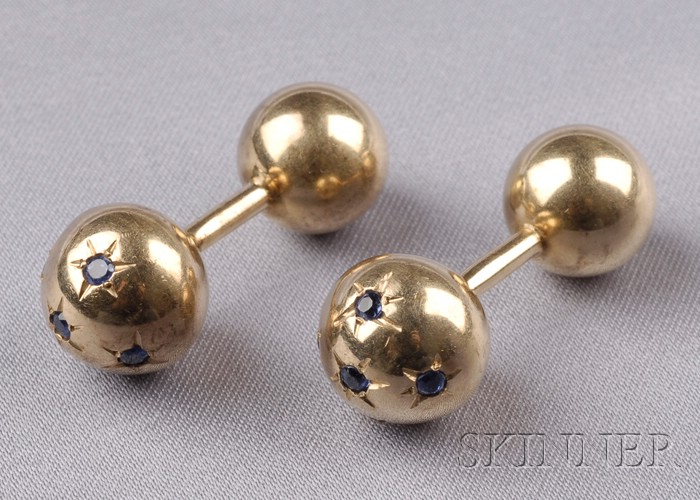 14kt Gold and Sapphire Barbell Cuff Links