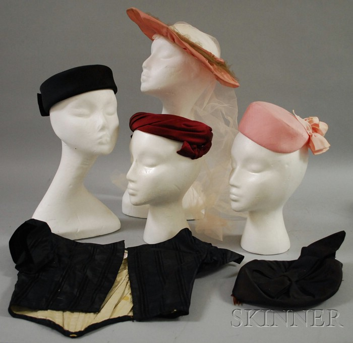 Five Vintage Silk and Satin Hats