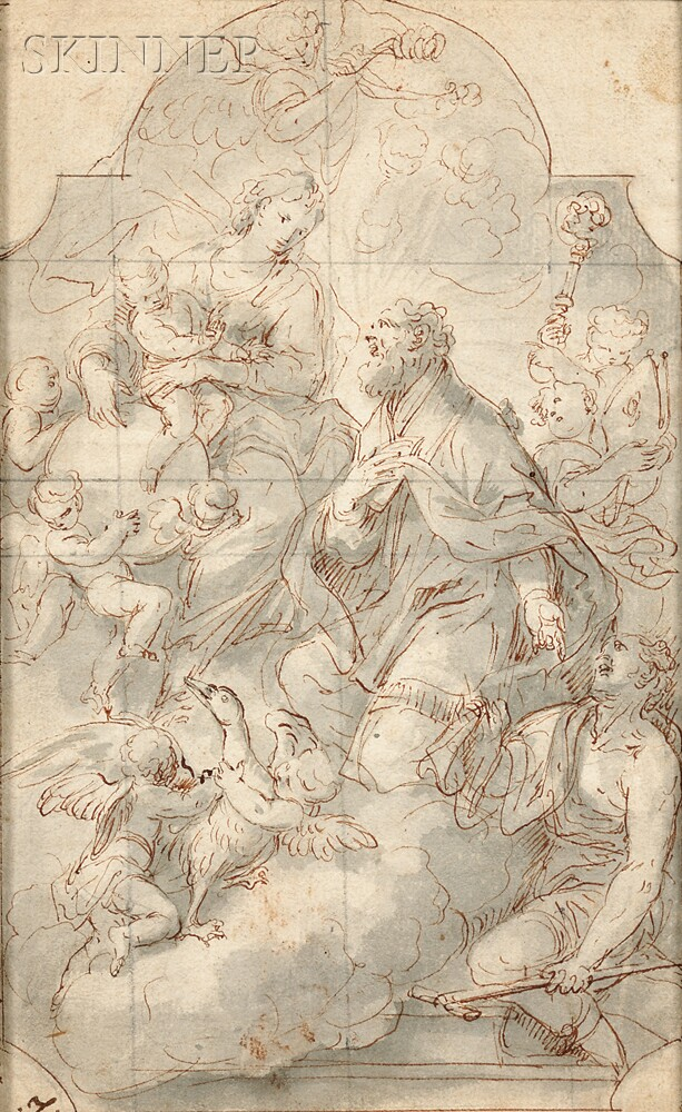 German School, Early 18th Century      Virgin and Child with Cherubs Appearing to a Saint