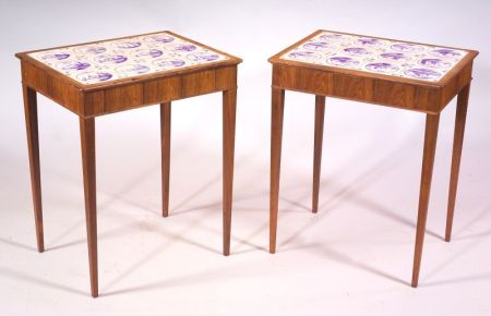 Pair of Delft Tile-inset Rosewood End Tables