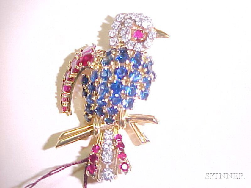 14kt Gold, Ruby, Sapphire and Diamond Bird Brooch