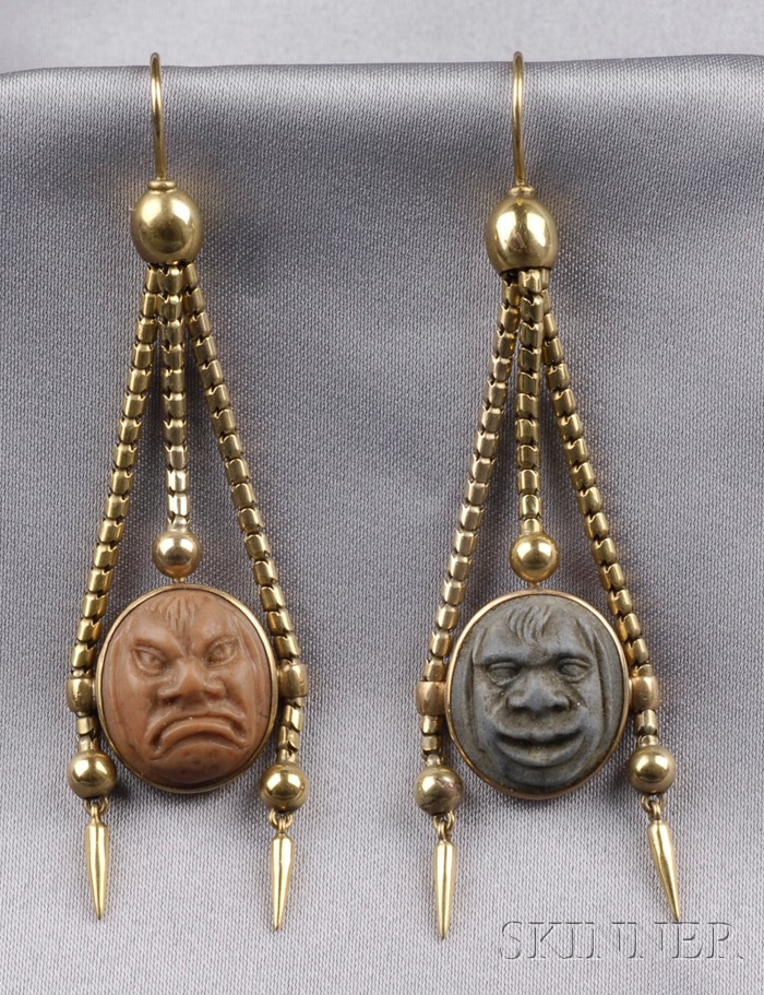 Antique Lava Cameo Earpendants