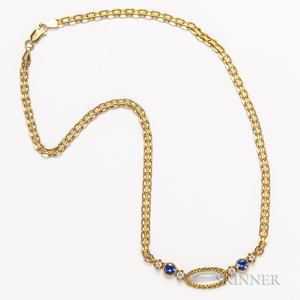 14kt Gold, Moonstone, Tanzanite, and Diamond Necklace