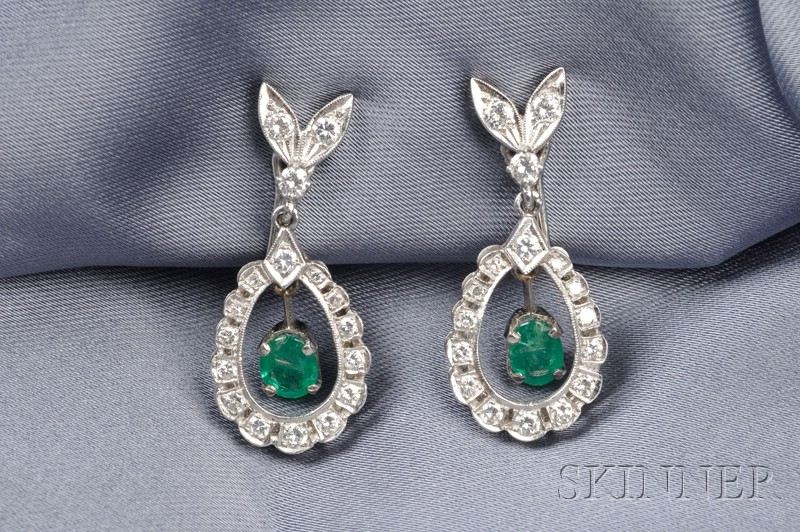 Platinum, Emerald, and Diamond Earpendants