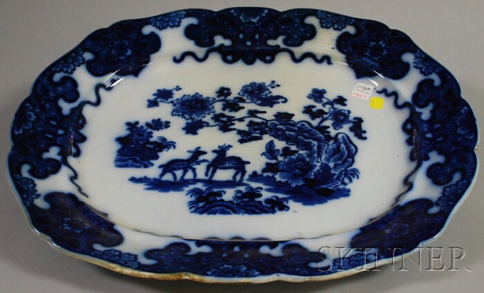 Large Scallop-edged Flow Blue Porcelain Platter