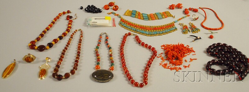 Small Group of Mostly Amber and Coral Jewelry