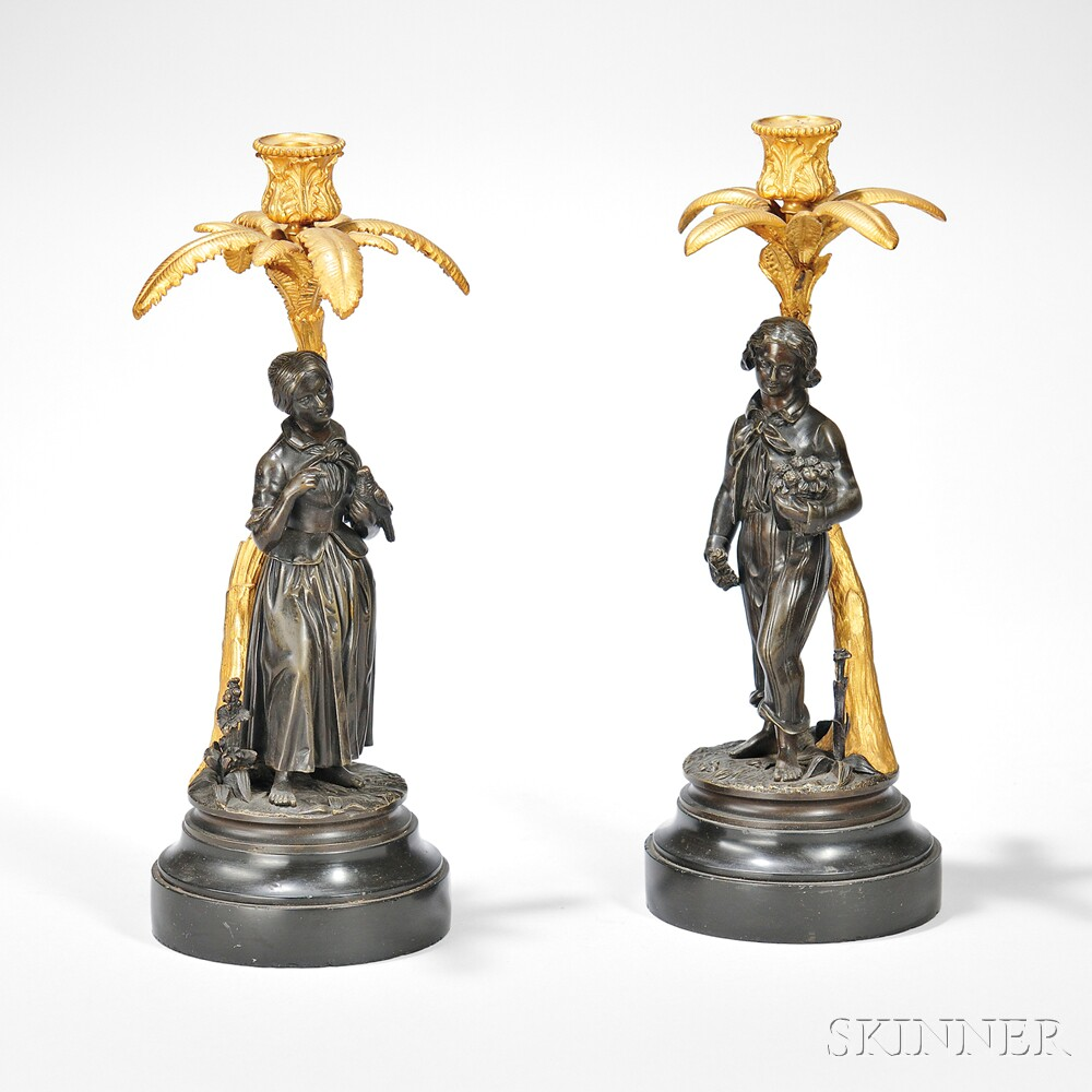Pair of Gilt and Patinated Bronze Figural Candlesticks