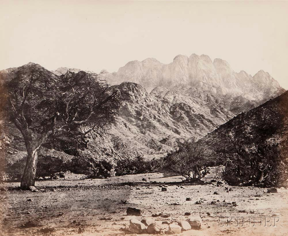 Francis Frith (British, 1822-1898)      Mount Serbal, From the Wádee Feyrán