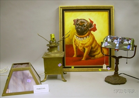 Framed Giclee Portrait of a Pug, a Reproduction Tiffany-style
