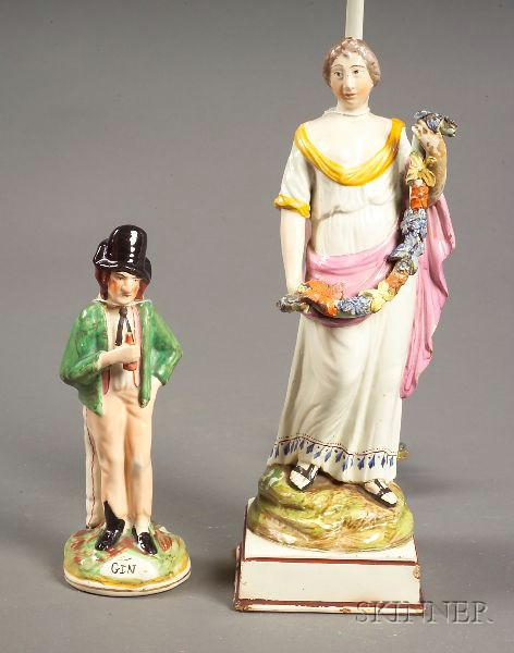 Staffordshire Neale-style Pottery Figure of Spring and a Double-sided Staffordshire
