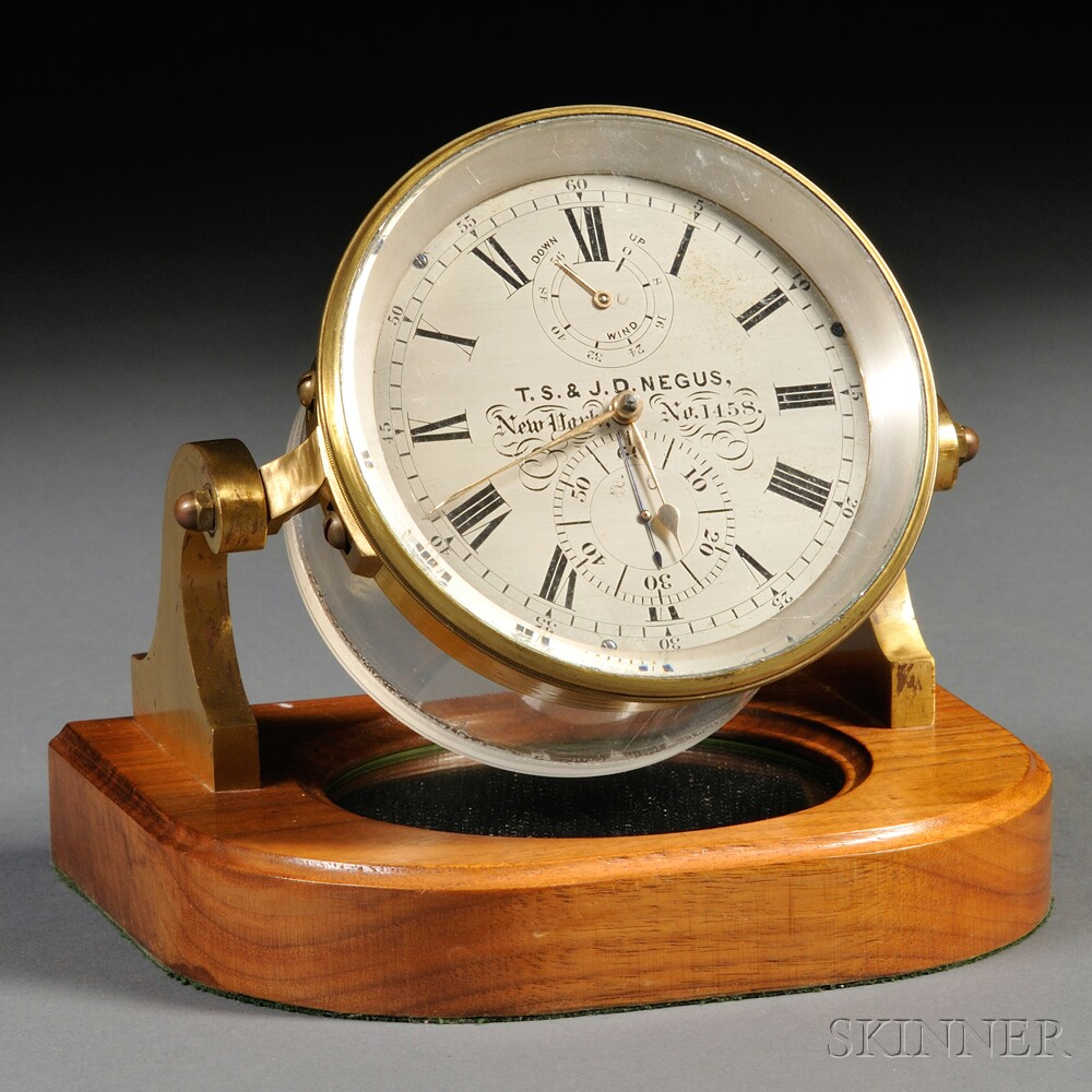 T.S. & J.D. Negus Two-day Marine Chronometer and Display Case