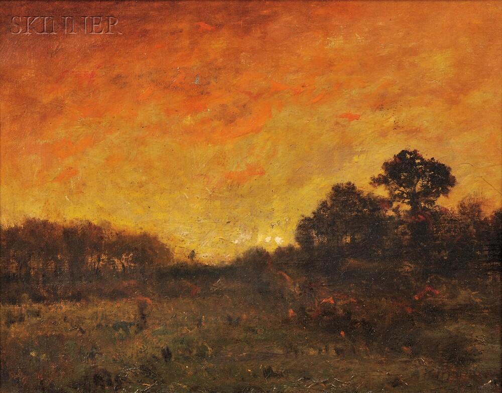 Alexander Helwig Wyant (American, 1836-1892)      Meadow Sunset