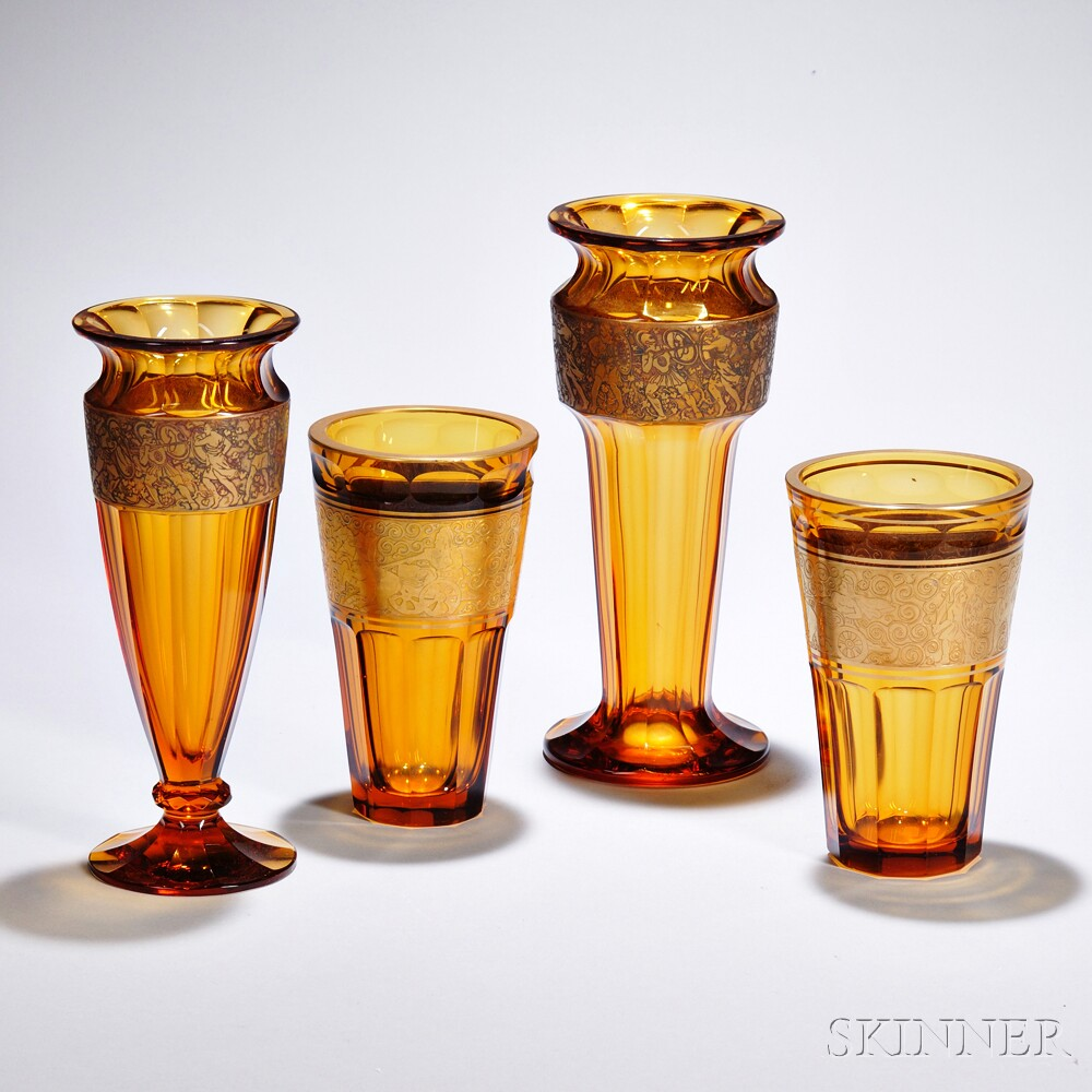 Four moser amber glass vases sale number 2888b lot number 597 four moser amber glass vases floridaeventfo Image collections
