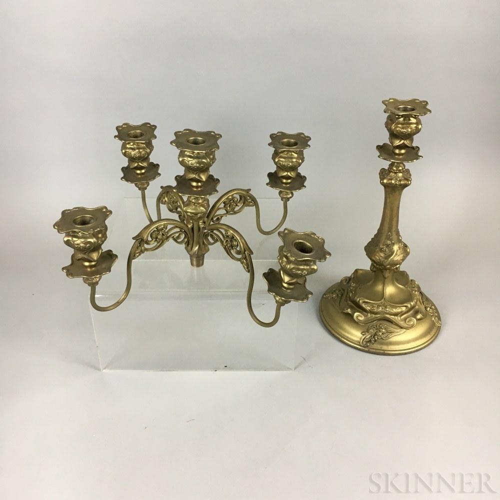 Barbour Silver Co. Art Nouveau Gold-painted Five-light Candelabra