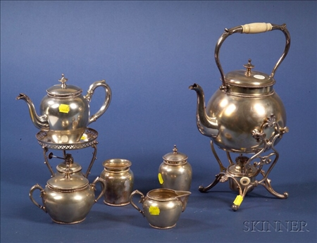 Six Piece German Silver Plate Tea Set