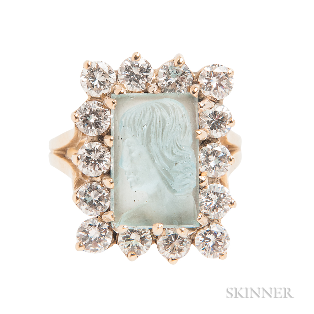 14kt Gold, Aquamarine Cameo, and Diamond Ring