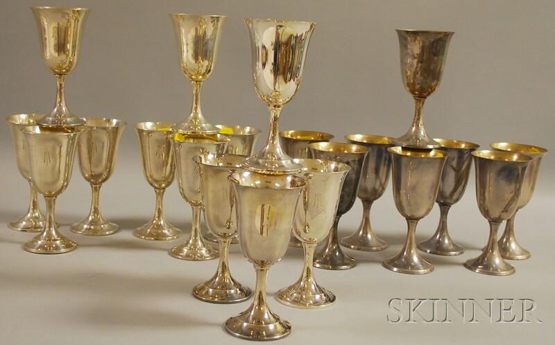 Twenty Sterling Silver Goblets