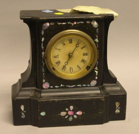 Bradley & Hubbard Victorian Black Painted Cast Iron and Mother-of-Pearl Mantel   Clock