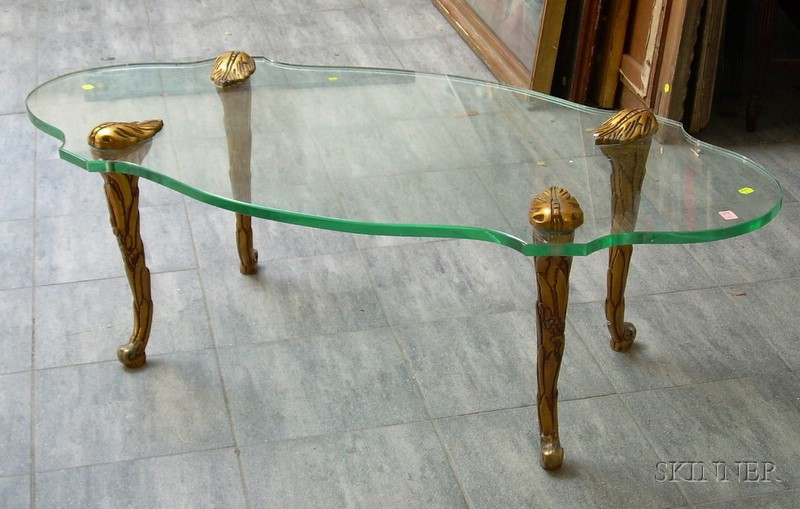 Modern Glass-top Giltwood Coffee Table.