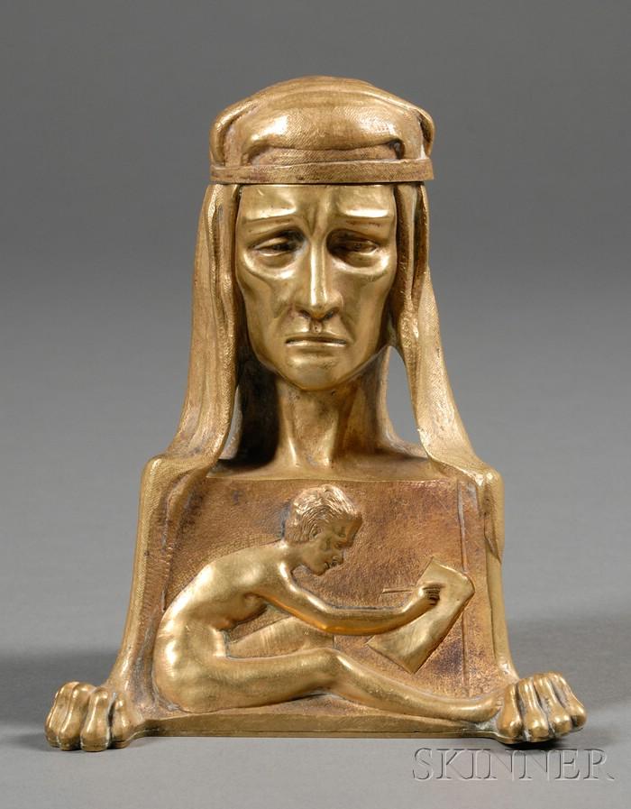 Art Nouveau Figural Bronze Inkwell