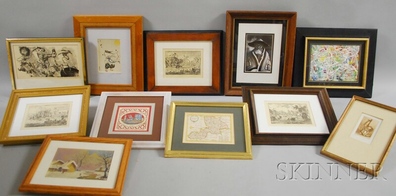 Eleven Assorted Modern Framed Prints, Paintings, and Photographs.