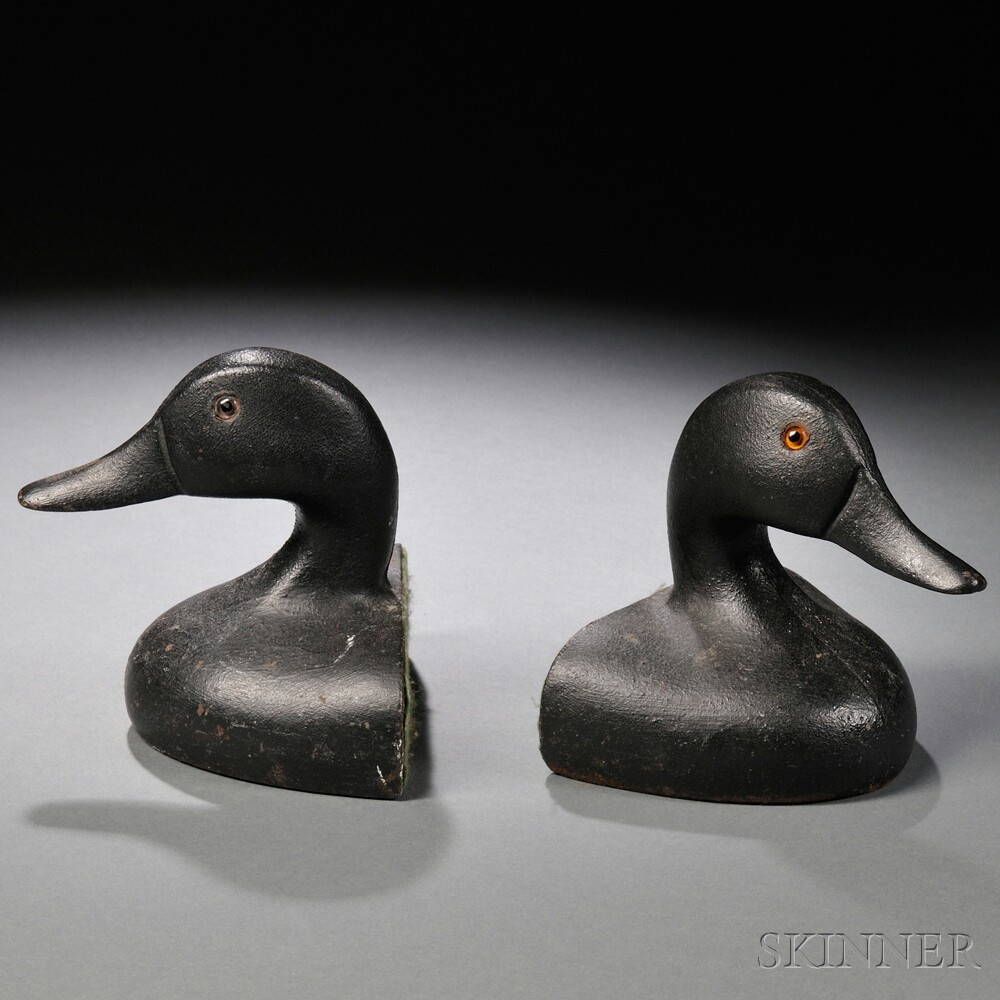 Pair of Cast Iron Duck Head-form Bookends