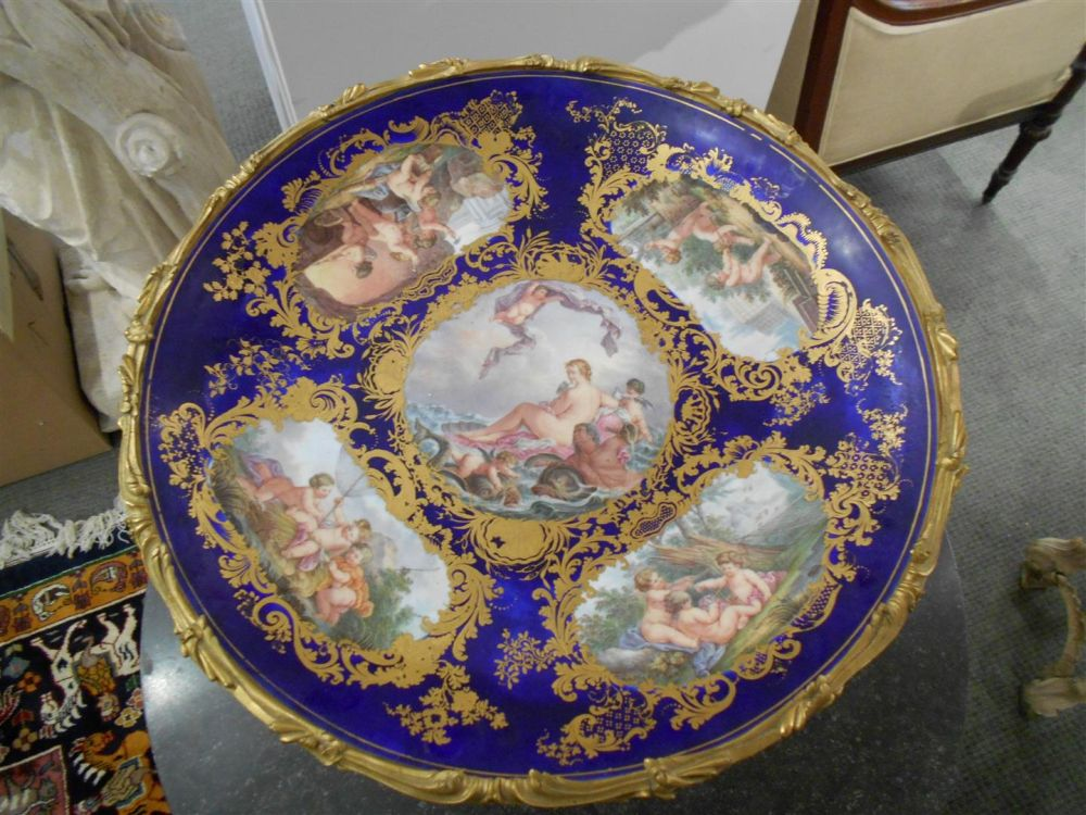 Napoleon III Gilt-bronze Centerpiece with a Sevres-style Porcelain Bronze-mounted Charger