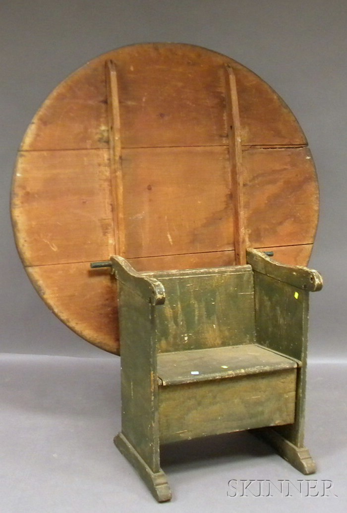 Green-painted Circular Pine and Maple Chair Table with Shoe Feet