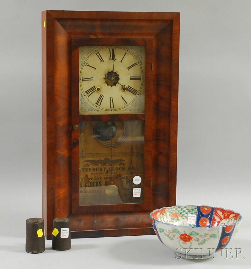 Waterbury Clock Co. Mahogany Veneer Ogee Mantel Clock and an Imari   Porcelain Bowl