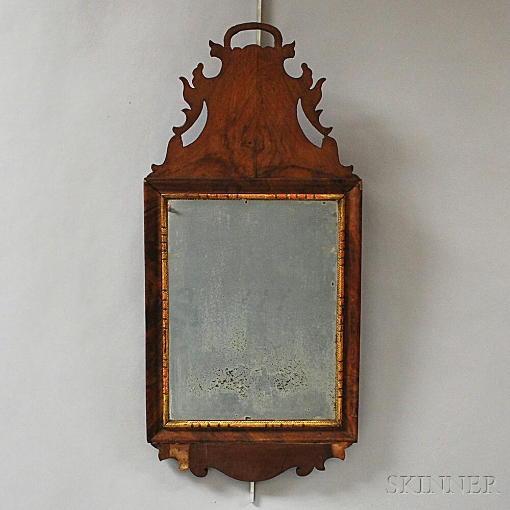 Queen Anne Walnut Veneer Mirror