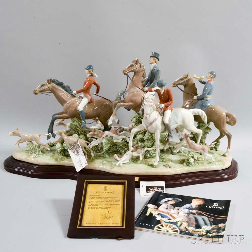 "Large Lladro Ceramic Figural Group ""Fox Hunt,"""