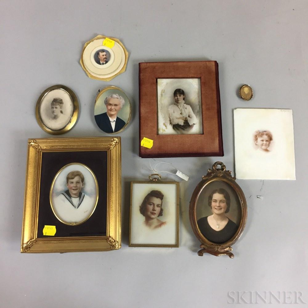 Ten Mostly Framed Portraits.     Estimate $20-200