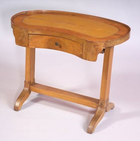 French Fruitwood Kidney-shaped Leather-top Writing Table