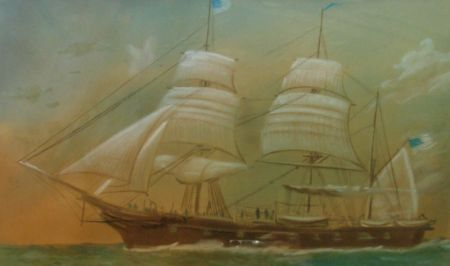 Two Framed American School Portraits of Clipper Ships