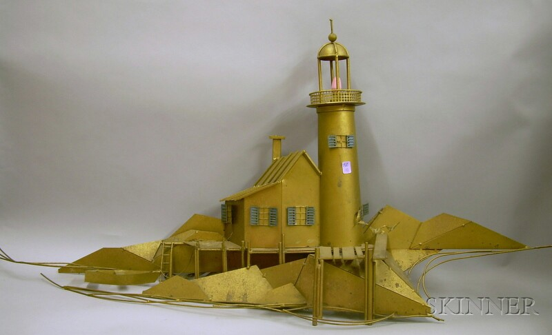 Gold-painted Metal Lighthouse Wall Sculpture