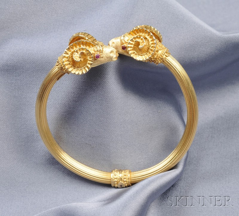 18kt Gold Ram's Head Bangle Bracelet, LaLaounis