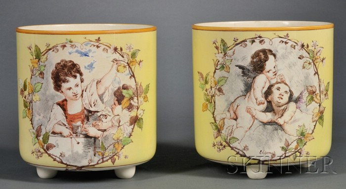 Pair of Wedgwood Lessore Decorated Queen's Ware Flowerpots