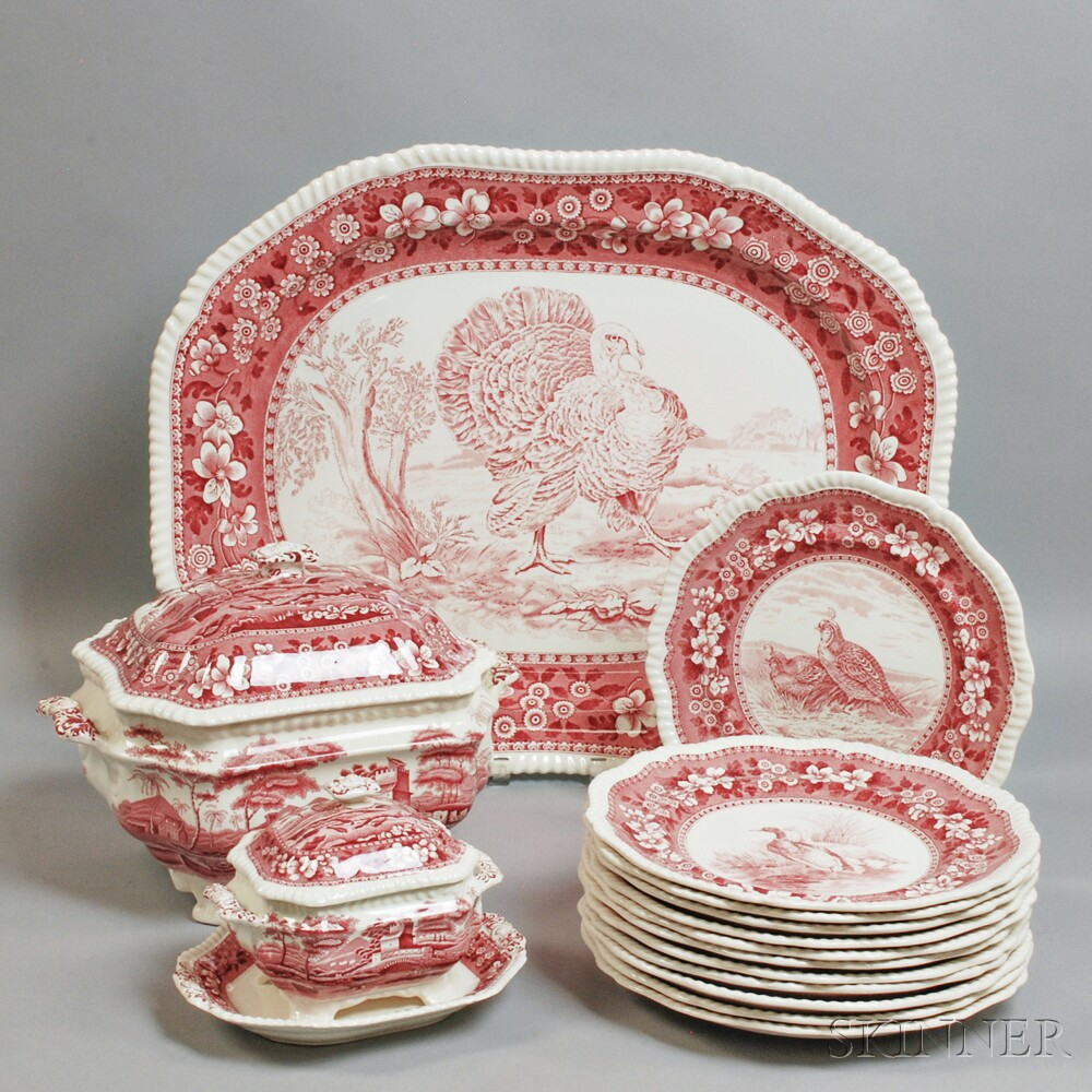 Fifteen Pieces of Copeland Spode Red  Tower  and  Plover  Transfer-decorated Tableware & Fifteen Pieces of Copeland Spode Red