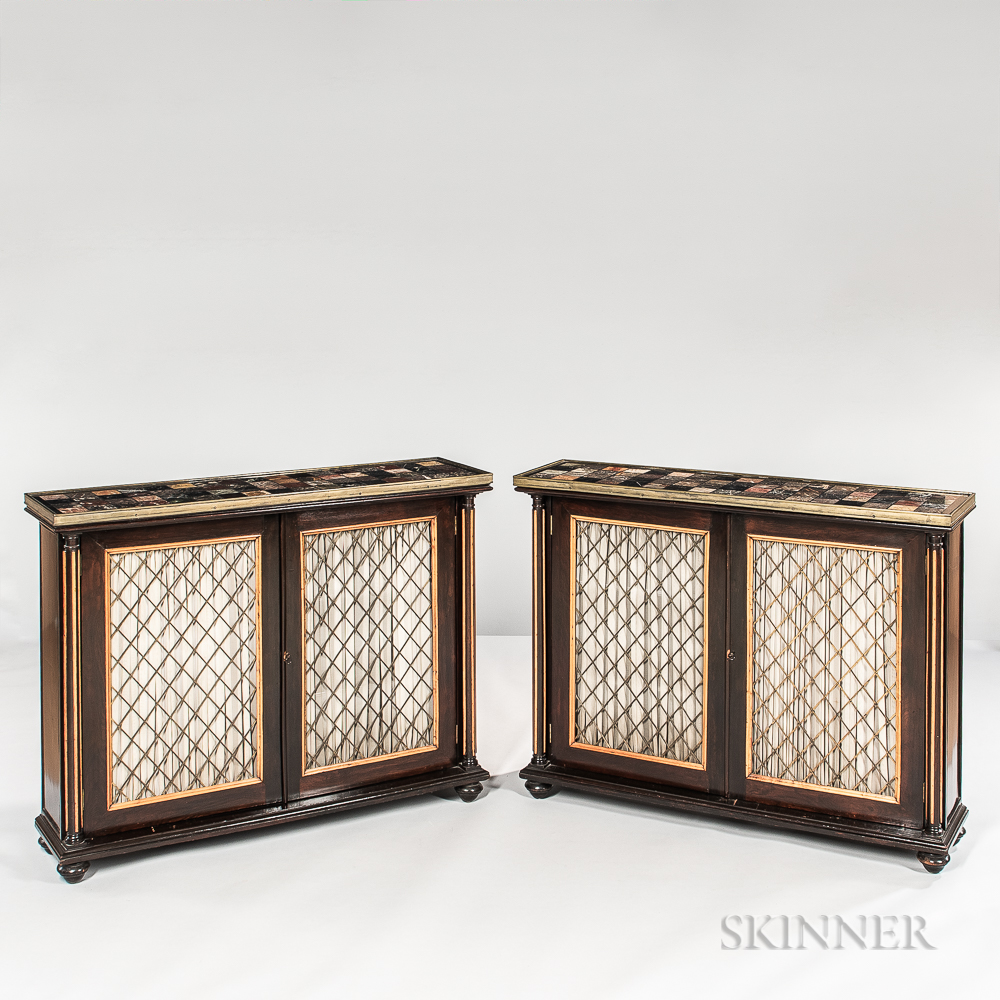 Pair of Regency-style Ebonized Wood Marble-top Consoles