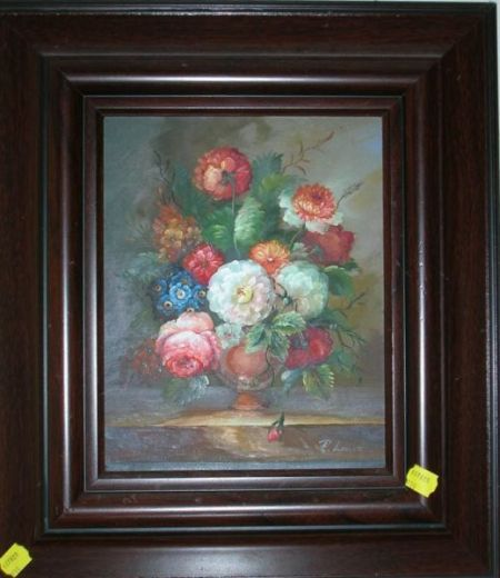 Framed Dutch-style Oil on Canvas Floral Still Life